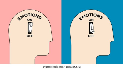 Emotions turn on and off. Emotional intelligence concept with human head silhouette with emotion on or off toggle switch inside. Minimalistic vector illustration. - Shutterstock ID 1866709543