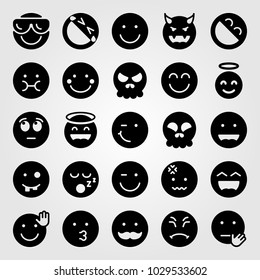 Emotions vector icon set. mustache, stop, smile and shy