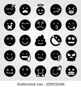 Emotions vector icon set. scared, crying, ill and weird