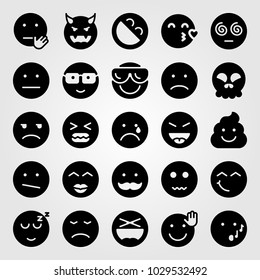 Emotions vector icon set. sleeping, valentines day, angry and weird