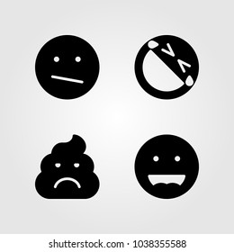 Emotions vector icon set. smile, laughing, laugh and weird