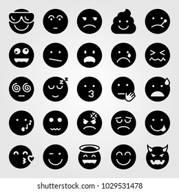 Emotions vector icon set. valentines day, kiss, wink and unamused