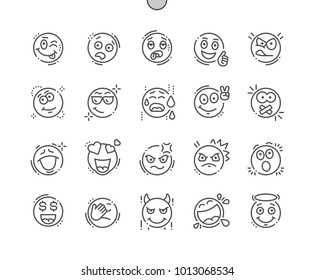 Emotions Well-crafted Pixel Perfect Vector Thin Line Icons 30 2x Grid for Web Graphics and Apps. Simple Minimal Pictogram