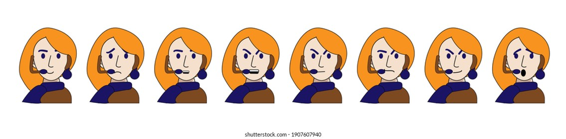 emotions of a young call center operator are isolated on a white background. Vector illustration in cartoon style. joy, cunning, anger, anger, sadness, surprise, contempt, calm. Employee of the help