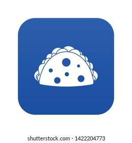 Empanada, cheburek or calzone icon digital blue for any design isolated on white vector illustration