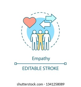 Empathy concept icon. Sensitivity, togetherness, friendship. Positive feedback. Sympathy, compassion idea thin line illustration. Vector isolated outline drawing. Editable stroke