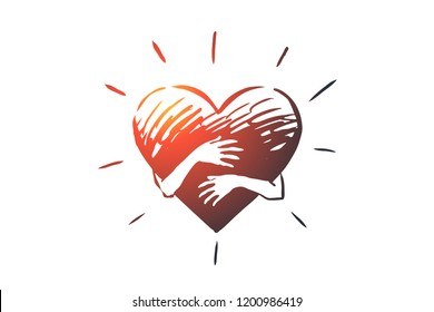Empathy, heart, love, charity, support concept. Hand drawn hands hugging heart concept sketch. Isolated vector illustration.
