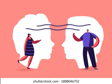 Empathy, Open Mind, Emotional Intelligence Concept. Communication Skills, Reasoning, Persuasion, People Listen and Support Each Other, Male and Female Characters Chatting. Cartoon Vector Illustration