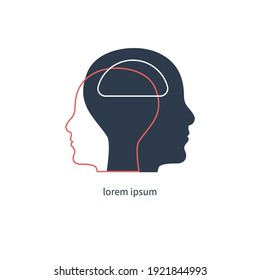 Empathy symbol. Two profiles with  link between them. Therapy sign. Psychology symbol. Vector illustration