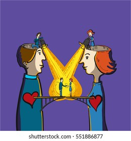 empathy and understanding between human being - conceptual vector illustration of bridge between heart of man and woman