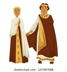 Emperor and empress Byzantine royal family crown and shawl isolated male and female characters vector ancient Byzantium ruler and his wife traditional clothing Christian religion antique man and woman