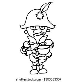Emperor of France Napoleon Bonaparte cup of coffee tea drinks cartoon isolated vector silhouette