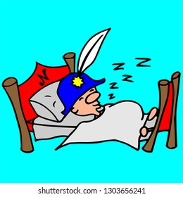The emperor of France Napoleon Bonaparte is sleeping on a bed cartoon isolated vector silhouette