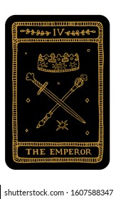 The Emperor. Hand drawn major arcana tarot card template. Tarot vector illustration in vintage style with mystic symbols, crystals and line art stars. Witchcraft concept for tarot readers