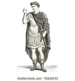 "Emperor Julius Caesar - vintage engraved illustration - ""Costumes anciens et modernes "" by Cesare Veccello ed.Firmin-Didot  in 1859 - Paris"