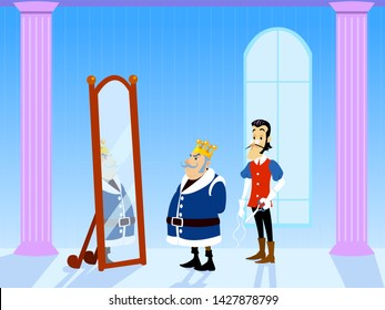 The Emperor's New Clothes Tale. King and Tailor in Saloon of the Palace. King Looking at New Clothes in Mirror. Vectoral Illustration for Children Books, Covers, Blogs, Web Pages.