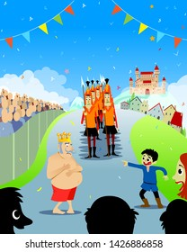 The Emperor's New Clothes Tale. Vector Illustration for Children Books, Covers, Blogs, Web Pages.