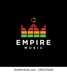 Empire music, crown beat with play flag icon logo inspiration