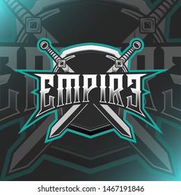 Empire Shield and Sword Logo Mascot Vector Illustration