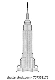 Empire State Building, Manhattan, New York City: Vector Illustration Hand Drawn Cartoon Art