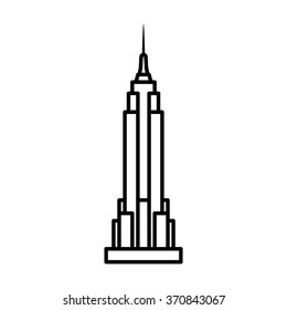 Empire State Building in New York City line art vector icon for apps and websites