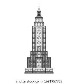 Empire State Building sketch engraving vector illustration. T-shirt apparel print design. Scratch board imitation. Black and white hand drawn image.