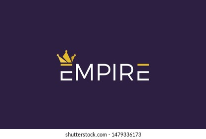 Empire word mark logo with crown symbol in top of letter E