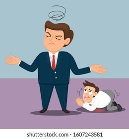 Employee begging his boss, illustration vector cartoon