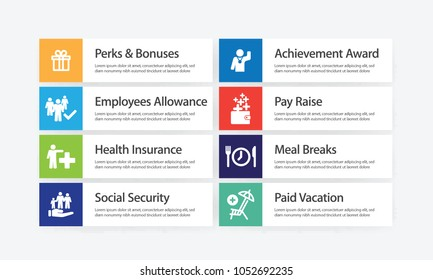 Employee Benefits Infographic Icon Set
