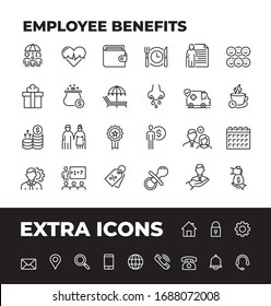 Employee Benefits Line Icon Set with extra set of most common icons. Unique Style of Outline Icons for web, mobile app and infographics at presentations