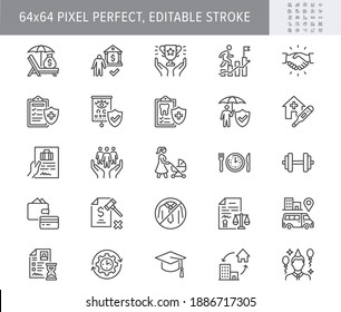 Employee benefits line icons. Vector illustration with icon - hr, perks, organization, maternity rest, sick leave outline pictogram for personal management. 64x64 Pixel Perfect Editable Stroke.