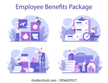 Employee benefits package concept set. Compensation supplementing employee's salary. Worker advantages: overtime, medical insurance, vacation and retirement benefits. Flat vector illustration