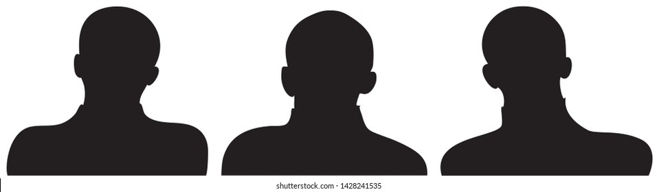 Employee business team as a silhoutte in black color. Set of three different businessmen heads and shoulders. EPS10 vector illustration.