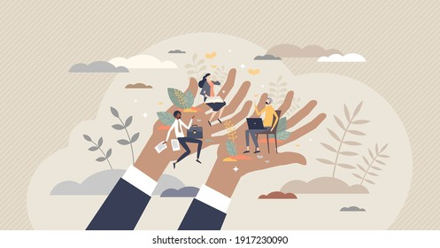 Employee care and labor support with social security tiny person concept. Human resources work to protect team with benefits, loyalty and assurances vector illustration. Job insurance and well being.
