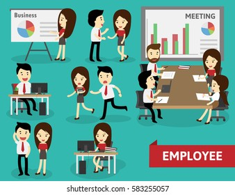 employee collection doing different activities, vector illustration