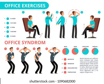 Employee doing office exercises desk. Medical vector diagram with cartoon people. Infographic syndrome office work, shoulder and headache illustration