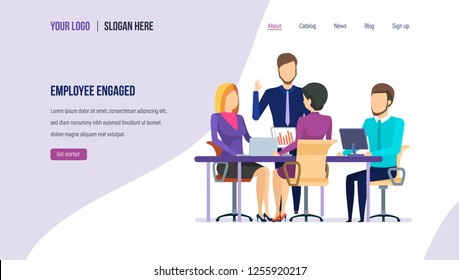 Employee engaged. Employee motivation, teamwork, partnership, successful teamwork finding business solution, teambuilding, career growth to success. Landing page template. Vector illustration.