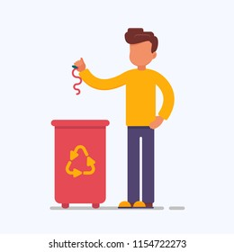 the employee is engaged in the processing of garbage. Vector creative illustration of the protection of the environment. The boy is throwing compost in a dumpster