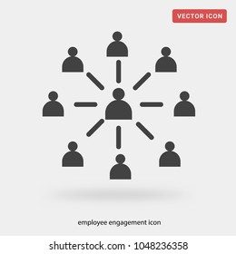 employee engagement icon on grey background, in black