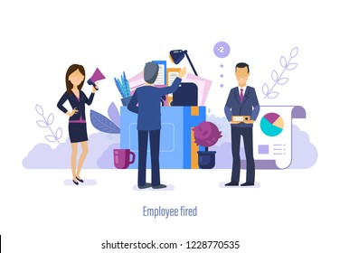Employee fired, dismissal. Departure from official duties, clear empty vacancies, boss dismisses employee. Unemployment, crisis, jobless and employee job reduction. Vector illustration.