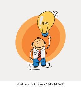 An employee got a smart idea , Character design wearing shirt and red tie with a light bulb  - Cartoon