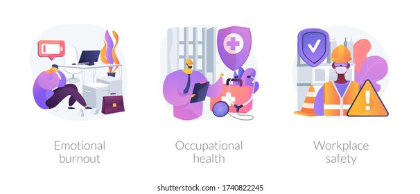 Employee health abstract concept vector illustration set. Emotional burnout, occupational health, workplace safety, overload, injury prevention, labor condition, working environment abstract metaphor.