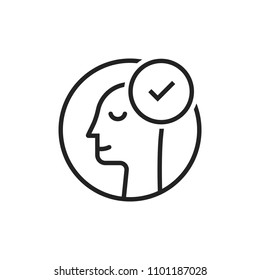 employee hiring with thin line man. flat stroke style trend modern lineart logotype graphic art design isolated on white background. concept of side view of face and people happy emotion like pleasure
