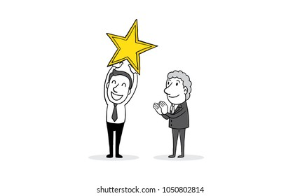 Employee hold a big gold star with hands clapping from big boss. business cartoon concept. isolated vector illustration outline hand drawn doodle line art cartoon design character.