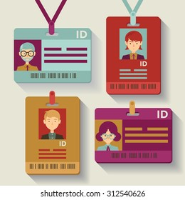 Employee IDs, badges, passes and lanyards in assorted designs and colors
