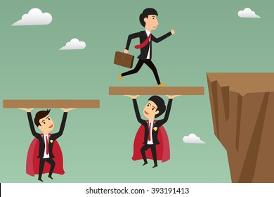 Employee jump through the gap supported by super business man. vector illustration.