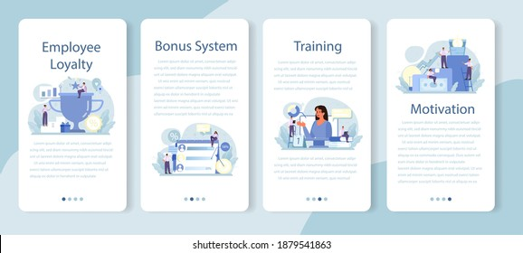 Employee loyalty mobile application banner set. Staff management, empolyee development and adaptation program. Personnel mativation and remuneration. Flat vector illustration