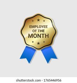 Employee of the Month Badge Golden Label Vector