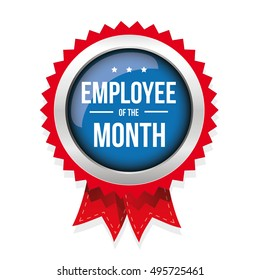 Employee of the month badge with ribbon