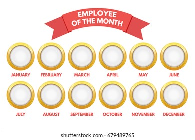 Employee of the month calendar. Vector illustration.